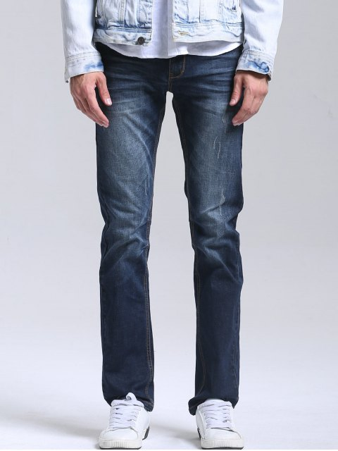 fashion Zipper Fly Men Straight Jeans - DEEP BLUE 38 Mobile