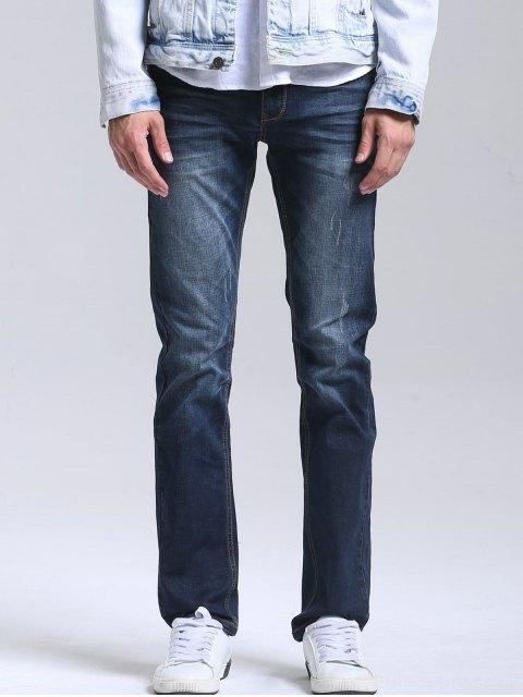 fancy Zipper Fly Men Straight Jeans - DEEP BLUE 34 Mobile