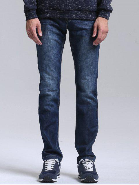 Bolsillos Zipper Fly Straight Jeans - Azul 34 Mobile