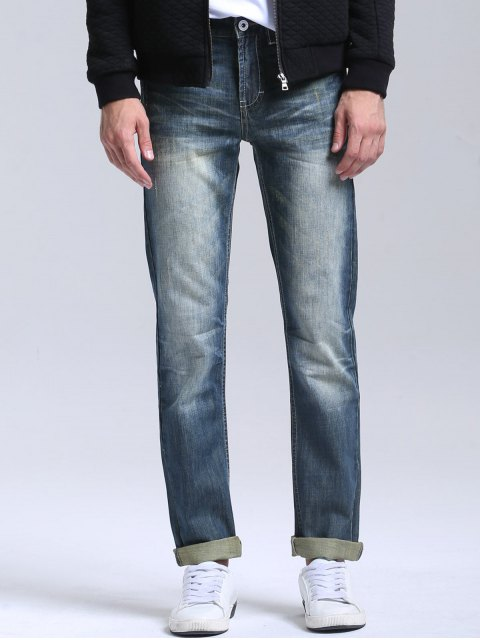 outfit Bleach Wash Zipper Fly Straight Jeans - STONE BLUE 38 Mobile