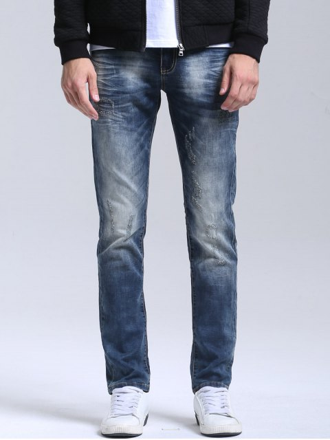 Zipper Fly Vintage Jeans Straight - Azul 34 Mobile