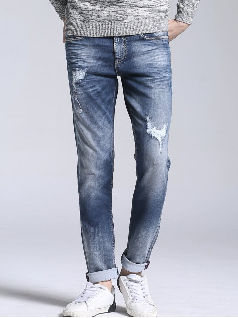 Zipper Fly Vintage Ripped Straight Jeans - Azul Claro 33 Mobile