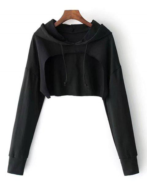 best Cape Drop Shoulder Crop Hoodie - BLACK ONE SIZE Mobile