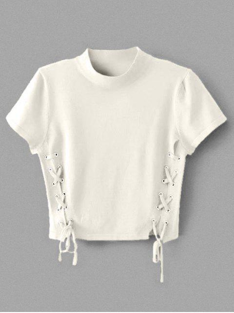 women Crew Neck Knit Lace-up Crop Top - WHITE S Mobile