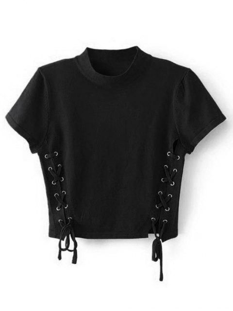 ladies Crew Neck Knit Lace-up Crop Top - BLACK S Mobile