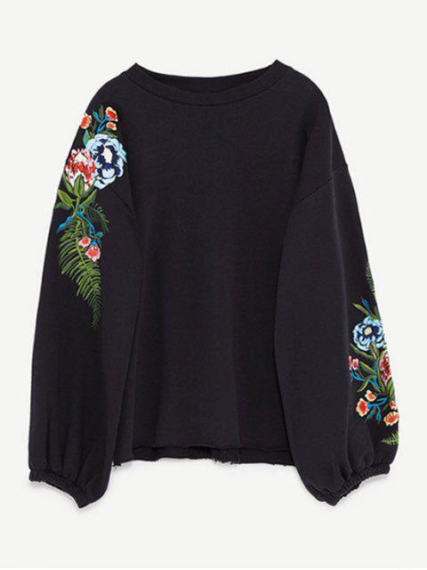 Sweatshirt mit Drop Schulter und Stickerei - Schwarz L Mobile