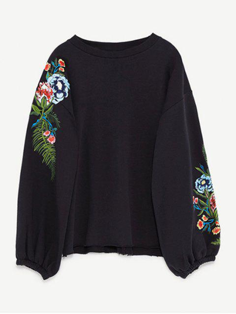 sale Drop Shoulder Embroidery Sweatshirt - BLACK M Mobile