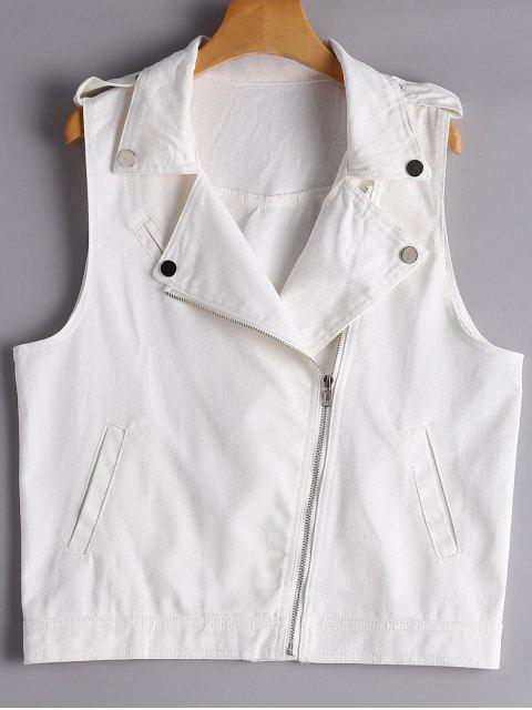 affordable Asymmetric Zipper Denim Waistcoat - WHITE S Mobile
