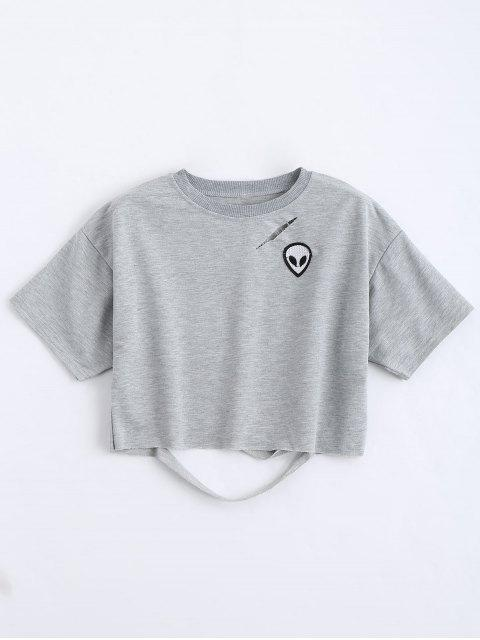 affordable Skull Patched Cutout Cropped Top - GRAY M Mobile
