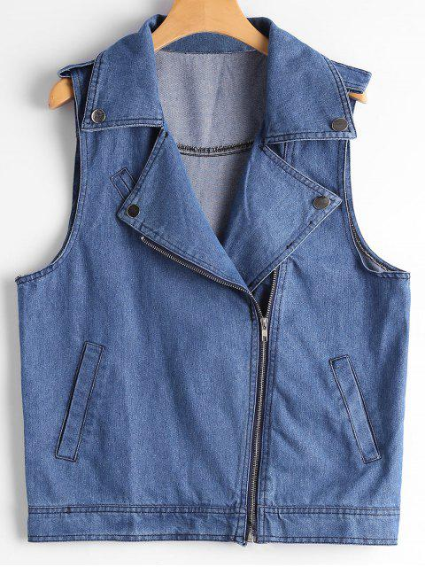 online Asymmetric Zipper Denim Waistcoat - BLUE S Mobile