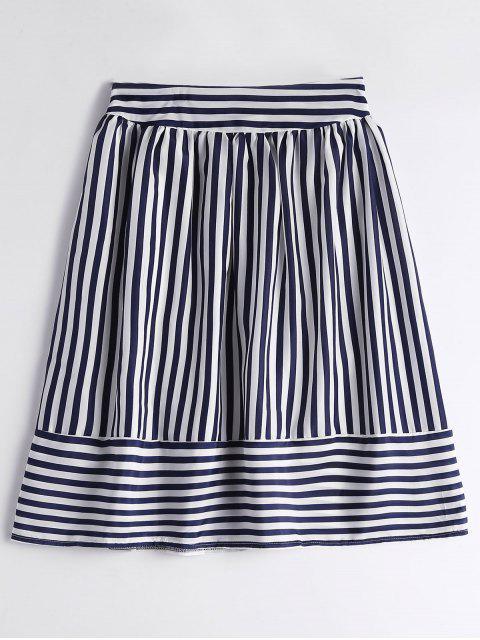 ladies Smocked High Waist Striped Skirt - PURPLISH BLUE ONE SIZE Mobile