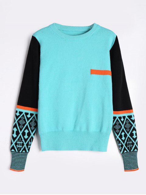 unique Color Blocking Crew Neck Sweater - FRESH ONE SIZE Mobile