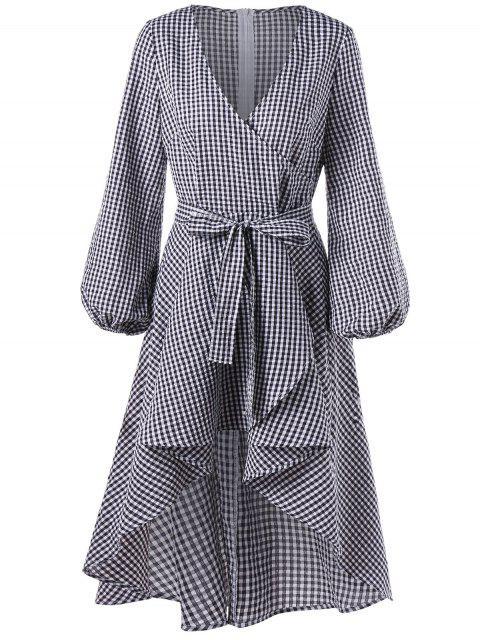 fashion Lantern Sleeve High Low Plaid Surplice Dress - CHECKED 2XL Mobile