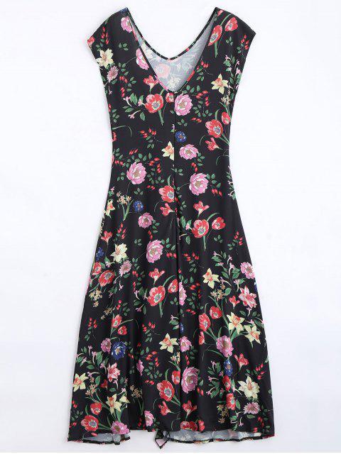 shop Back Slit Ruffles Floral Maxi Dress - BLACK L Mobile