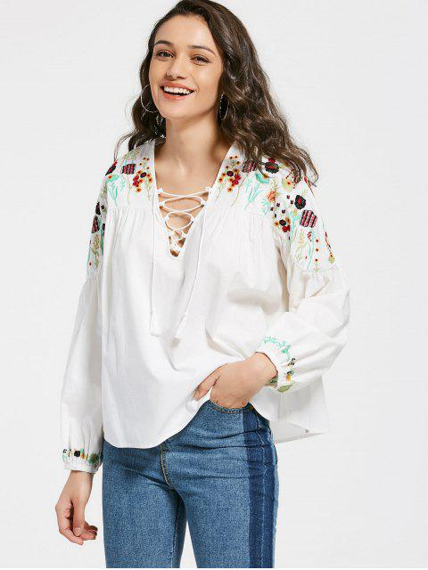 fancy Floral Embroidery Lace Up Blouse - WHITE L Mobile