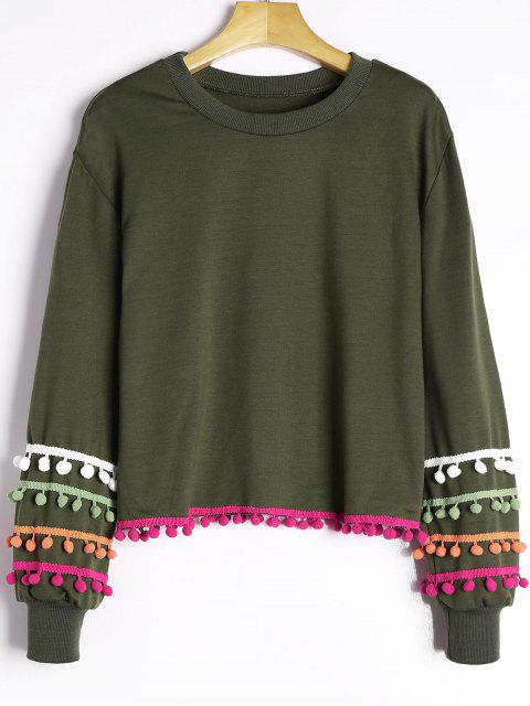hot Colored Pom Pom Trimmed Sweatshirt - ARMY GREEN ONE SIZE Mobile