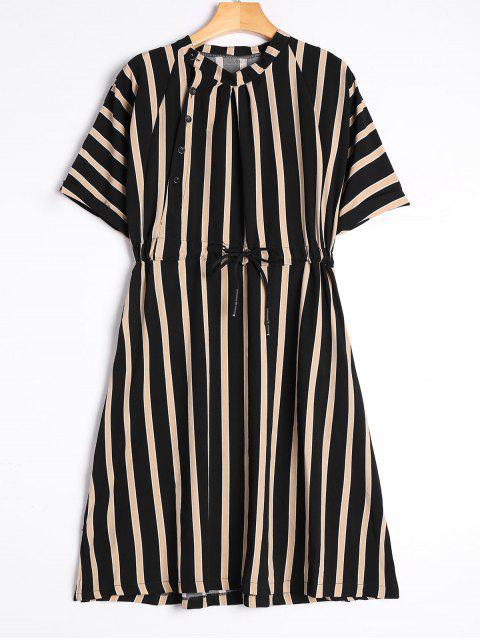 Gestreiftes Kleid mit Halb Ärmel und Kordelzug - Schwarz XL  Mobile
