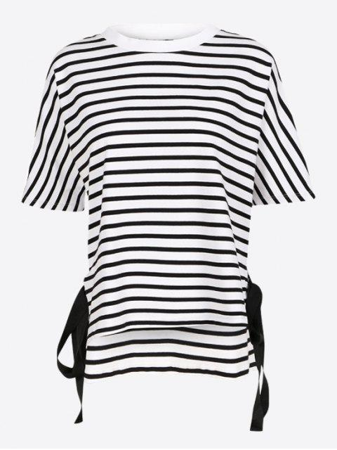 shop Side Tie Striped T-shirt - STRIPE XL Mobile