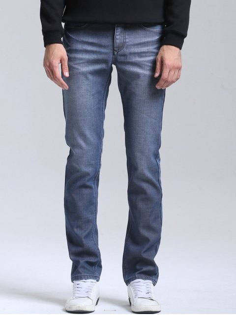 trendy Slim Fit Straight Leg Jeans - BLUE 34 Mobile