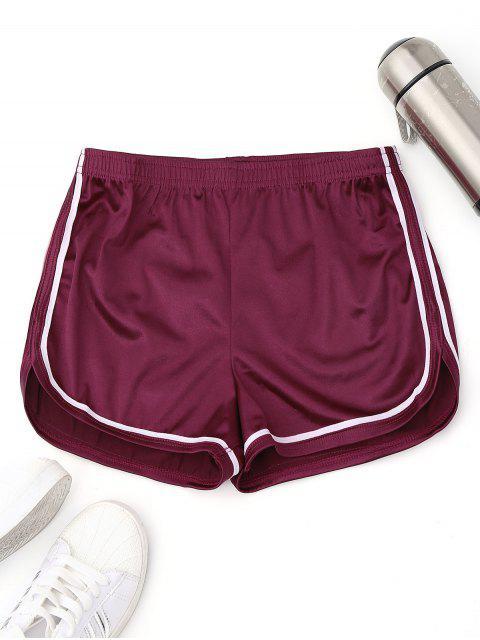 hot Elastic Waist Satin Sports Dolphin Shorts - PURPLISH RED L Mobile