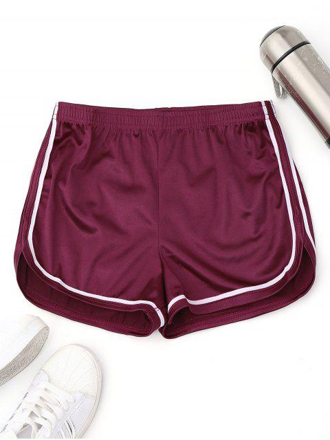 outfits Elastic Waist Satin Sports Dolphin Shorts - PURPLISH RED S Mobile