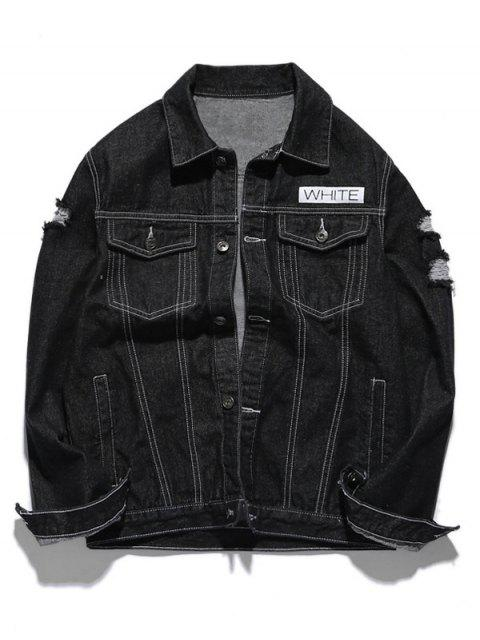 fancy Graphic Ripped Denim Jacket - BLACK M Mobile