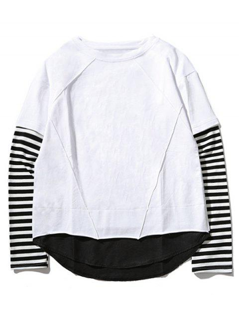 T-shirt Ras du Cou à Manches Rayées - Blanc 2XL Mobile