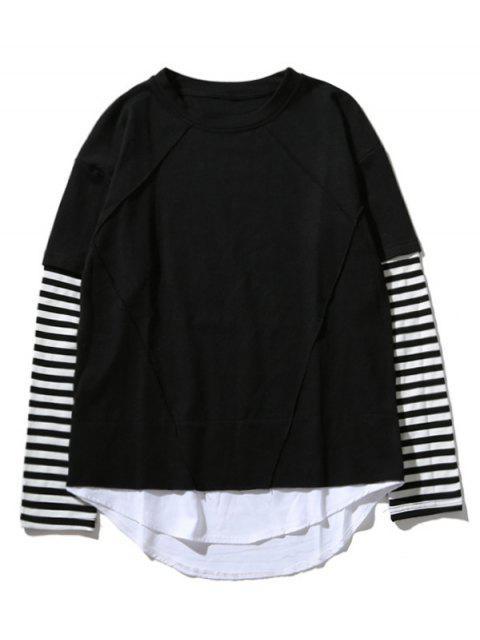 T-shirt Ras du Cou à Manches Rayées - Noir 2XL Mobile