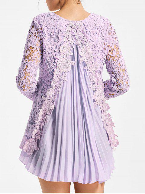 fashion Long Sleeve Pleated High Low Lace Blouse - LIGHT PURPLE M Mobile