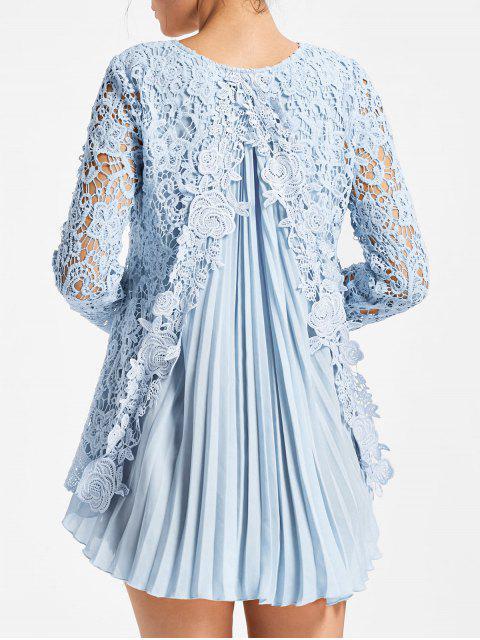 Blusa de Encaje con Pliegues de Manga Larga - Azul Claro M Mobile