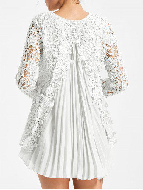 new Long Sleeve Pleated High Low Lace Blouse - WHITE M Mobile