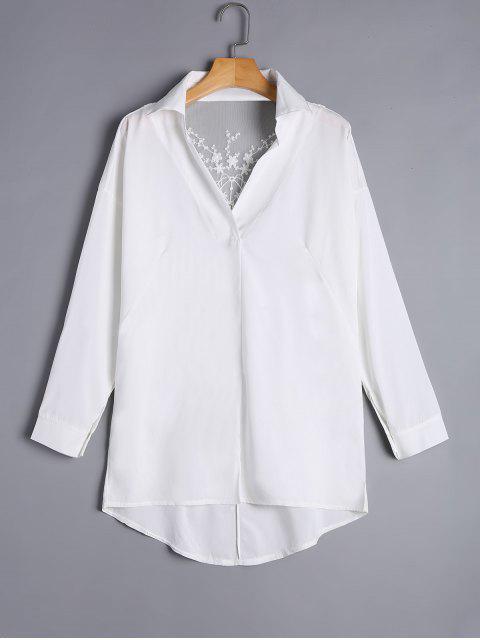 Asymmetrische Schiere Spitze Rücken Tunika Bluse - Weiß XL  Mobile