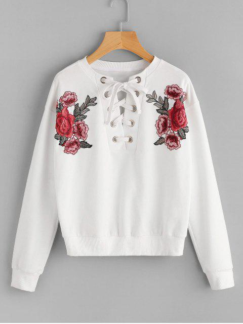 fashion Lace Up Floral Patched Sweatshirt - WHITE S Mobile