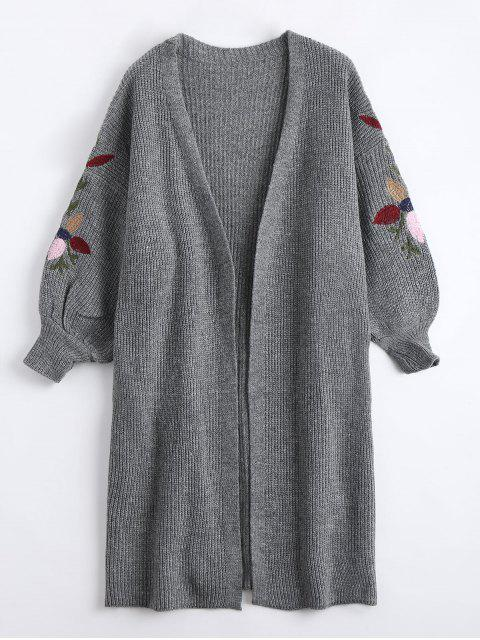 best Collarless Embroidered Drop Shoulder Cardigan - GRAY ONE SIZE Mobile