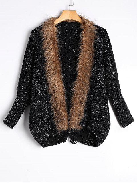 outfit Faux Fur Trimmed Cable Knit Cardigan - BLACK ONE SIZE Mobile
