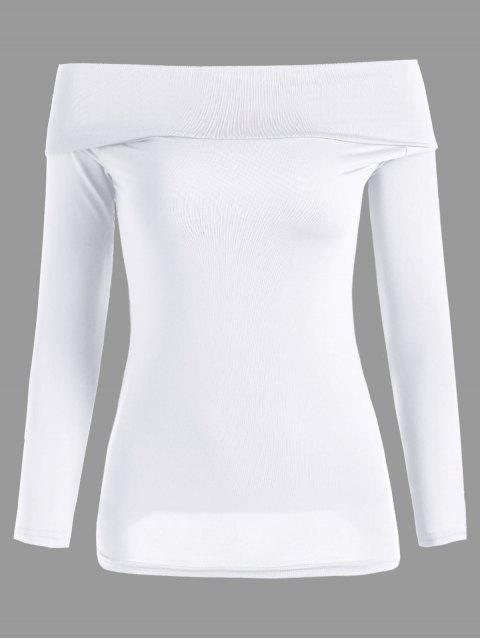 Langes Hülsen-Kabriolett weg vom Schulter-T-Shirt - Weiß Eine Größe Mobile