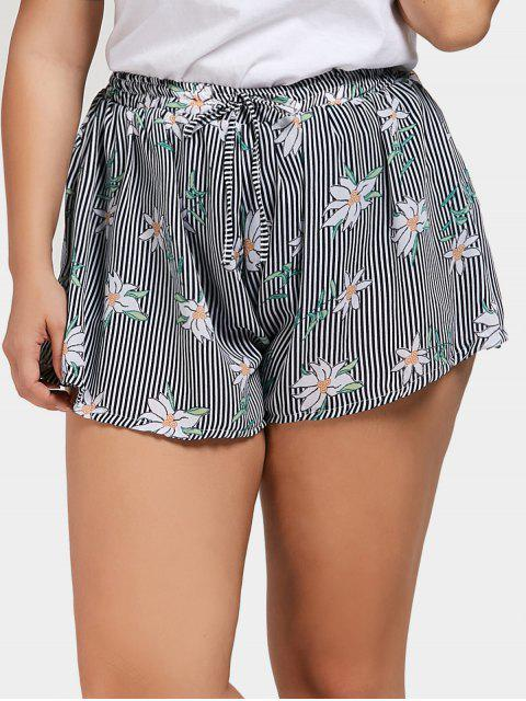 unique Floral Striped Plus Size Shorts - STRIPE 3XL Mobile