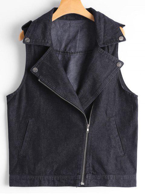 outfit Asymmetric Zipper Denim Waistcoat - BLACK L Mobile