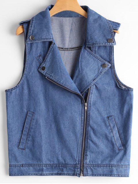 buy Asymmetric Zipper Denim Waistcoat - BLUE L Mobile