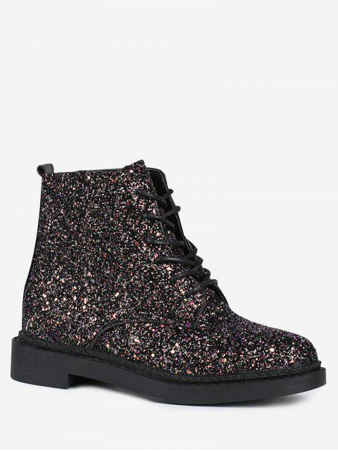 best Lace Up Glitter Short Boots - BLACK 37 Mobile
