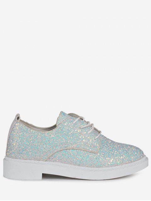 Low Top Glitter Tie Up Flat Shoes - Blanc 37 Mobile