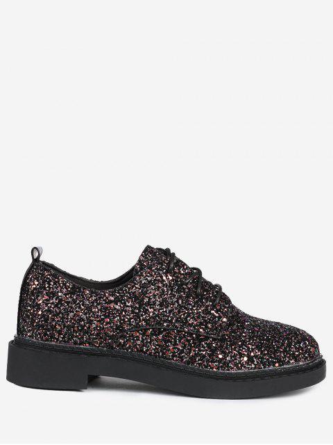 El brillo superior ata para arriba los zapatos planos - Negro 37 Mobile