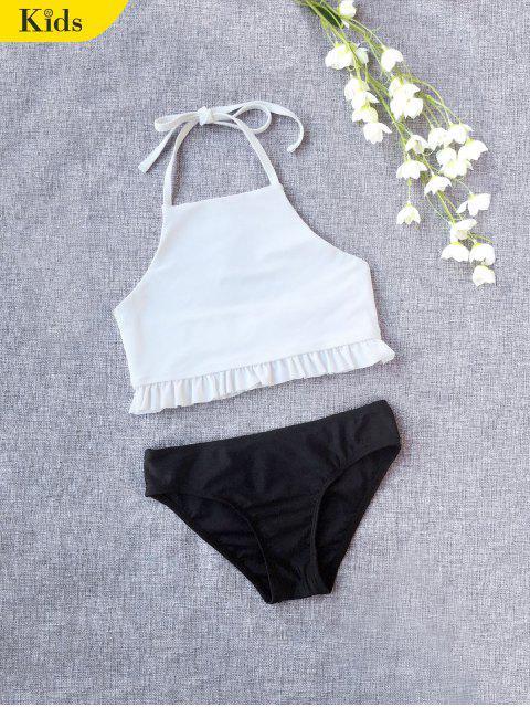 shop Ruffles Halter Kids Bikini - WHITE 5T Mobile