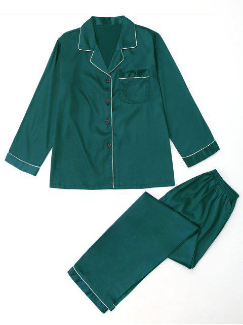 Pocket Satin Shirt mit Hosen Pyjamas Set - GREEN M Mobile
