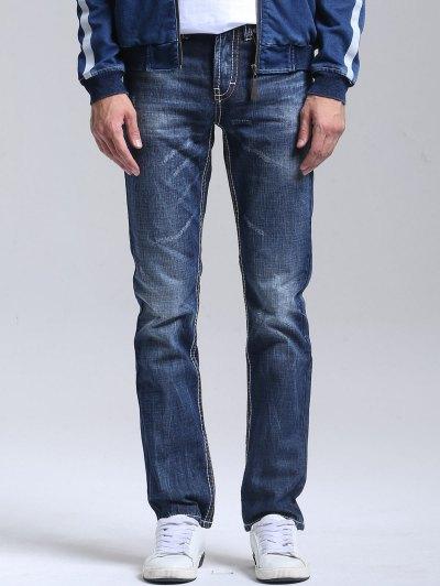 Zipper Fly Bleach Wash Straight Jeans