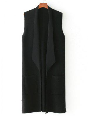 Side Slit Knitted Open Front Waistcoat