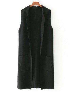 Side Slit Knitting Open Front Waistcoat