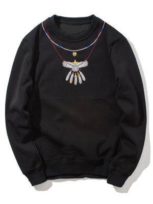 Crew Neck Flocking Embroidered Sweatshirt