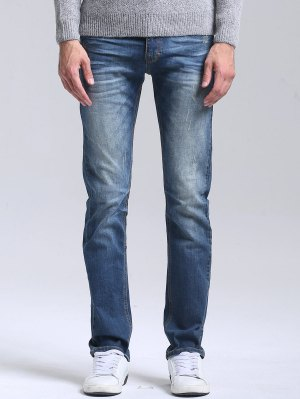 Scratched Straight Leg Jeans