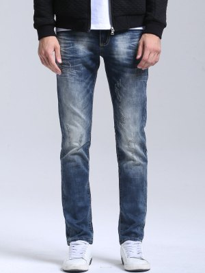 Zipper Fly Vintage Straight Jeans